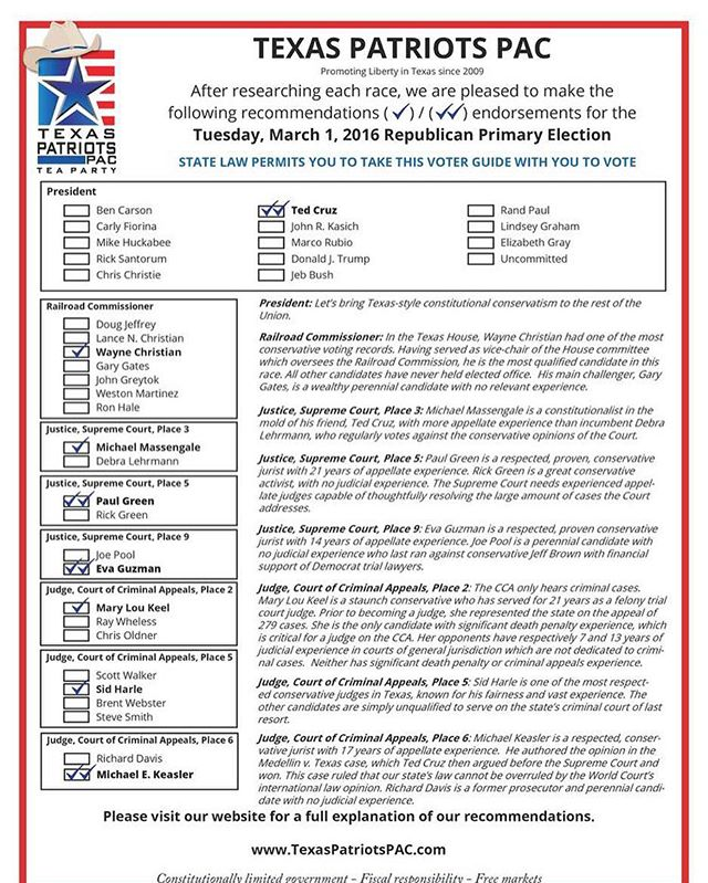 Here is the official Texas Patriots PAC voter guide for all of the statewide races! No matter where you live in Texas, you get to vote in these races. Share this far and wide so that your fellow conservatives will know who to vote for. (Be sure to bring a paper copy with you to vote, as the election judges do not allow you to look at your phone in the voting booth.) #texas #htx #tx #dallastx #txlege