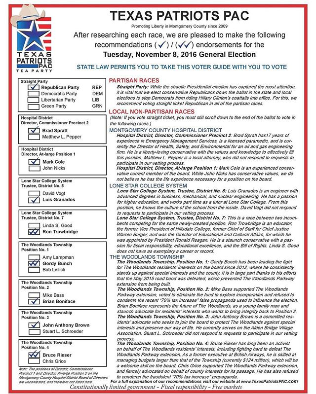 Our November 2016 voter guide! Be sure to scroll down to the end of the ballot in order to vote in these nonpartisan races. Voting straight ticket won't cover these! #thewoodlands