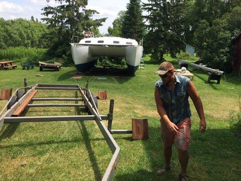 Step one: Center trailer beneath boat