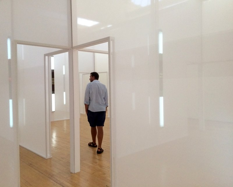 Zion wandering through an installation by Robert Irwin.