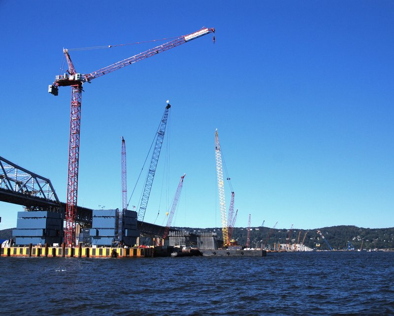 A flock of cranes working to build a new Tappan Zee bridge. The project is being closely watched by River Keeper.