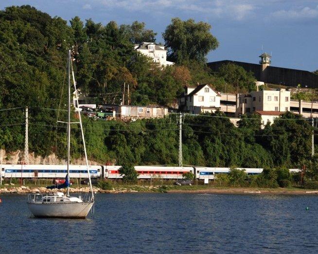The Metro-North train just a few feet above sea level form Ossining, NY