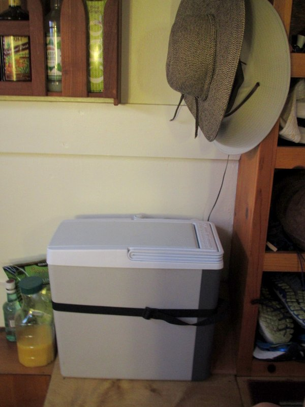 Our fridge is less roomy - this little cooler has a fan but we only have enough power to run it during the day.
