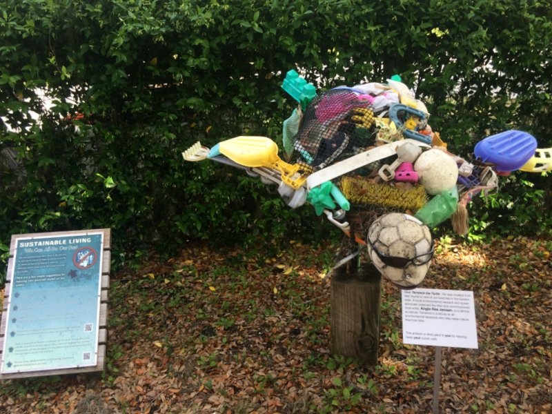 Some fun environmental art reminding visitors about the danger debris in the oceans poses to turtles.