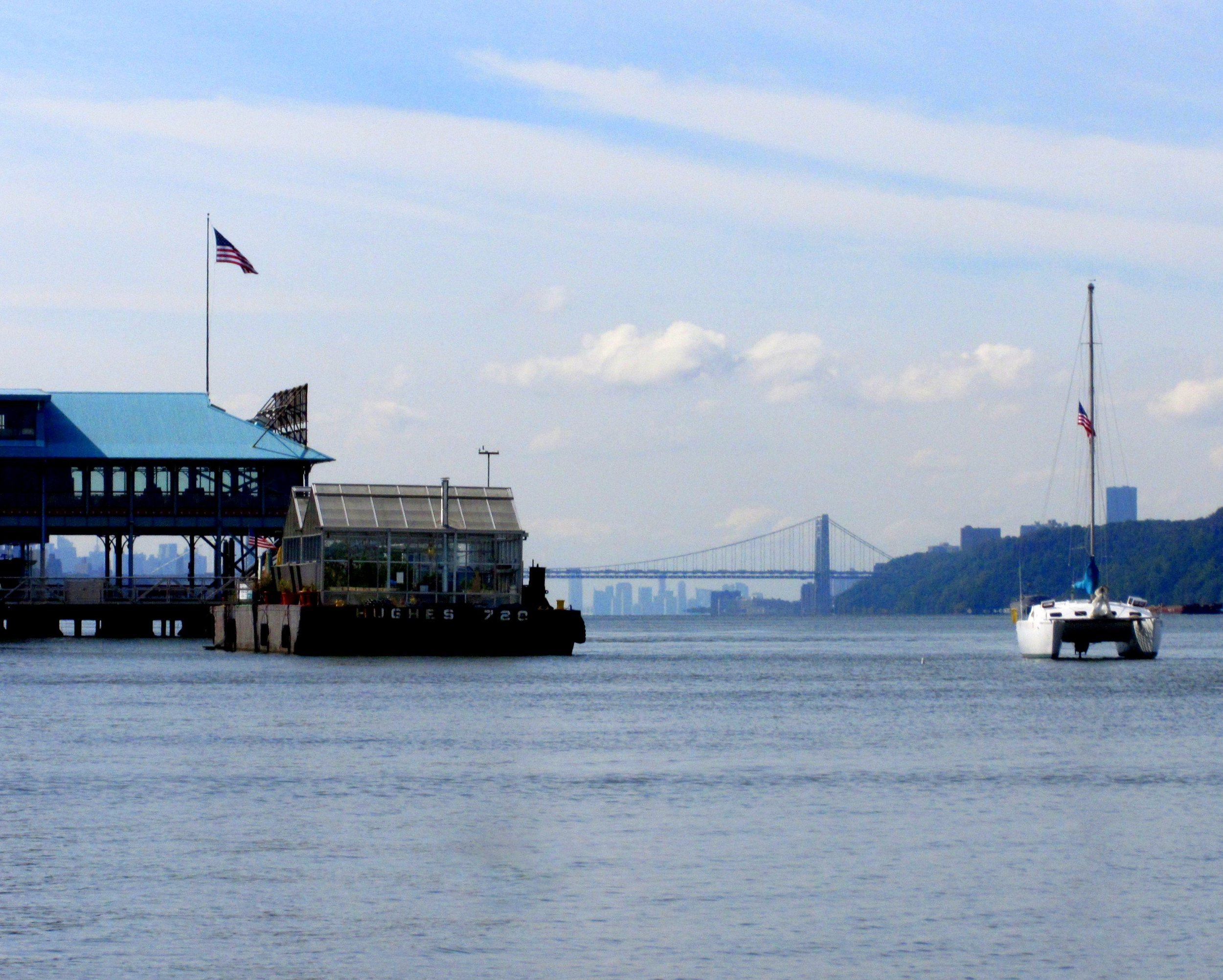 Our boat, the Wildcat, anchored near Groundwork Hudson Valley's Science Barge in the Hudson River last September.