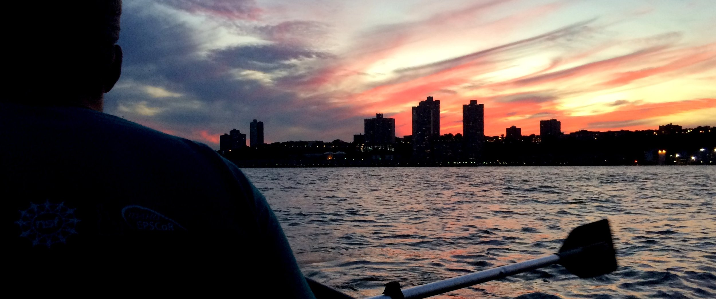 An American Flag sunset seen from our dinghy on the Hudson River last September.