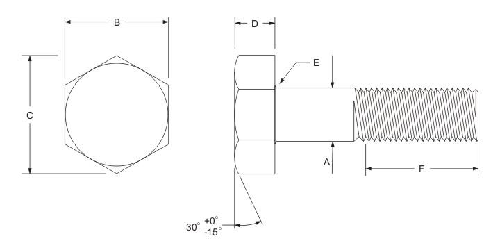 hex bolt dimensions