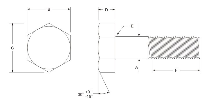 heavy hex bolt dimensions