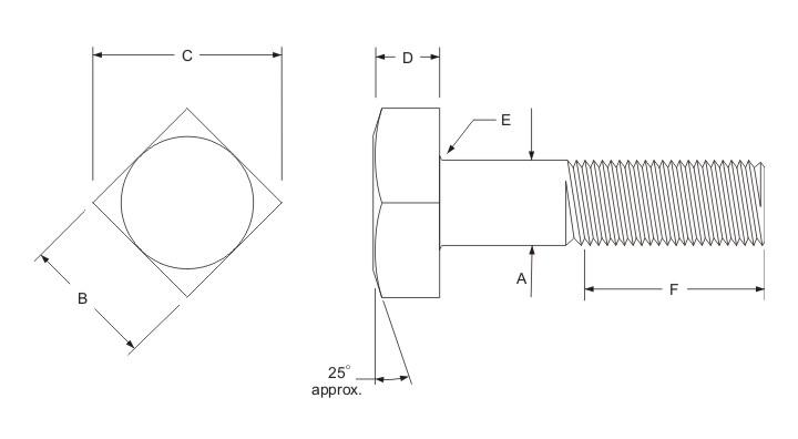 square bolt dimensions