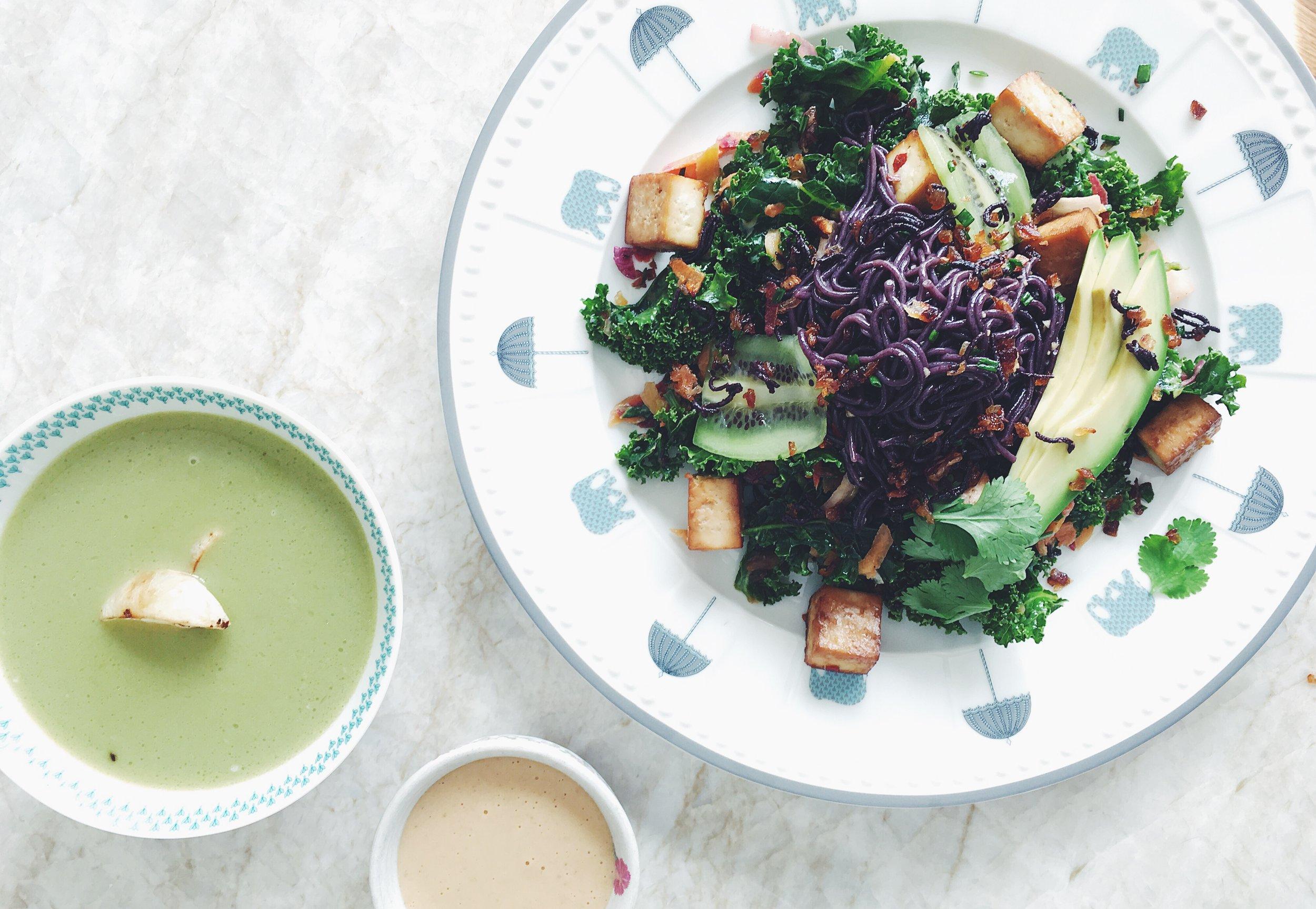 Forbidden Rice Ramen Salad with Caramelized Tofu + Almond Apricot Sauce