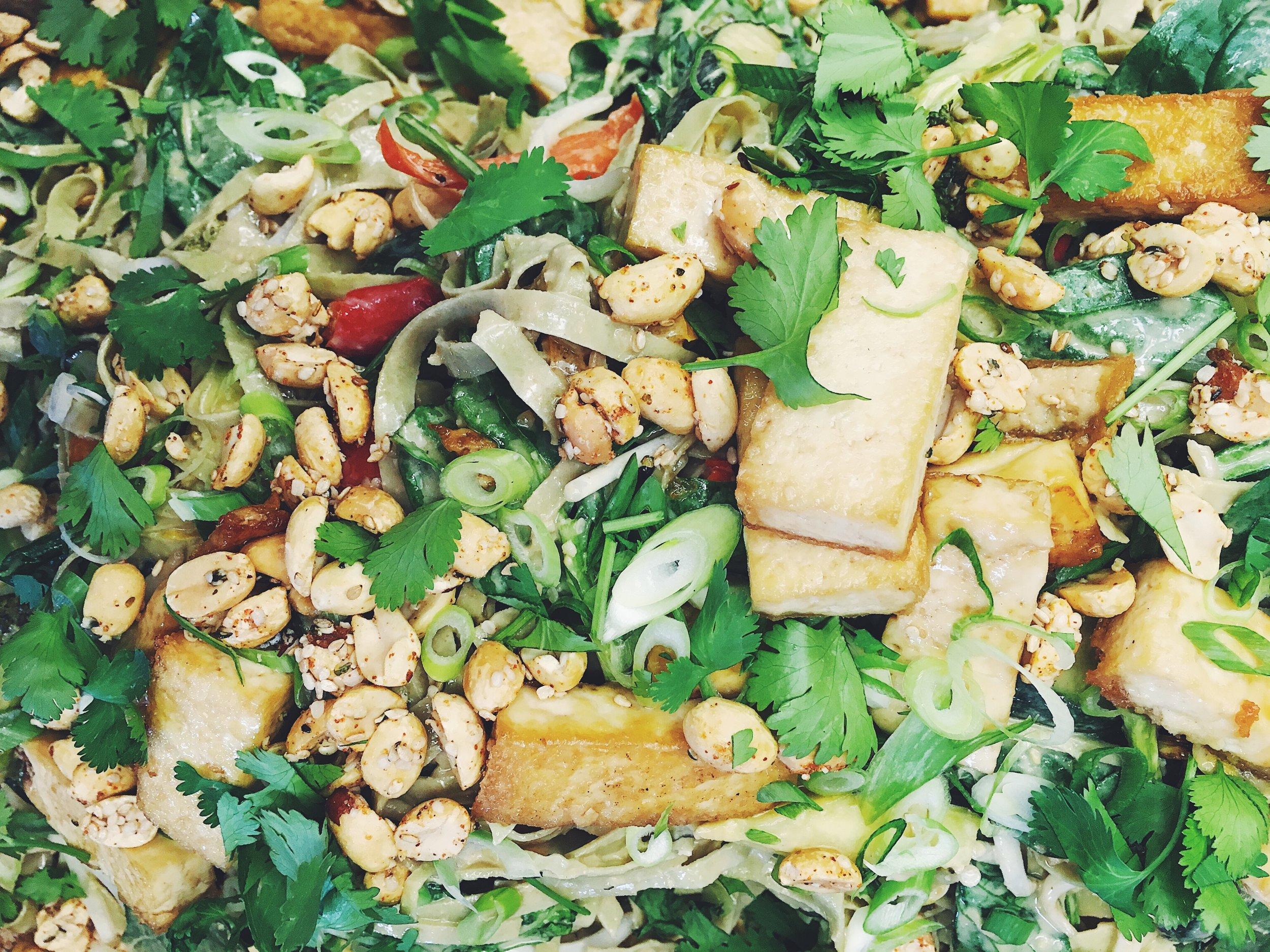 Edamame Mung Bean Noodle Stir-fry with Ginger Almond Sauce + Garlic Tofu