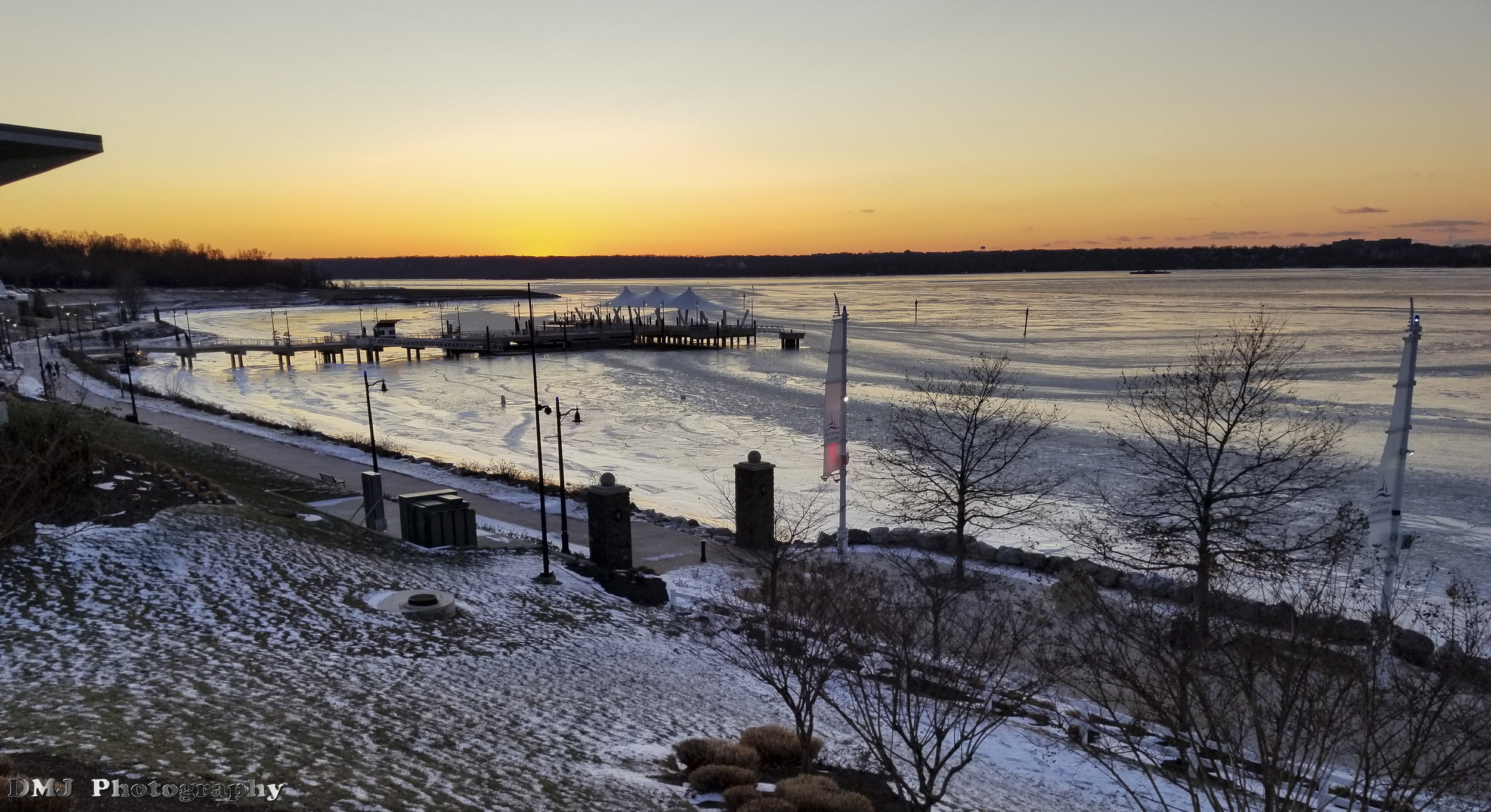 The Potomac River was frozen solid from weeks of sub-freezing temperatures
