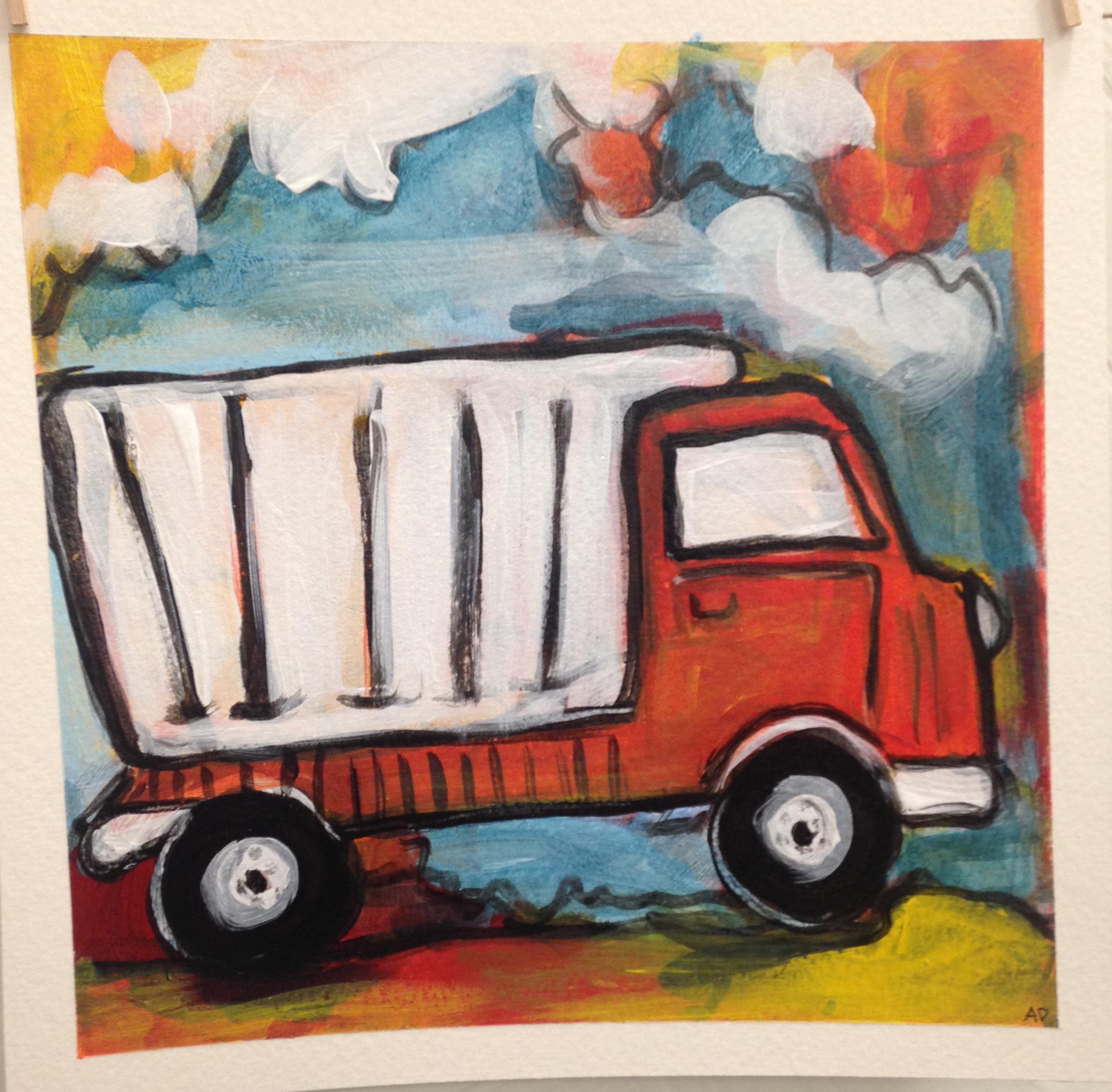 Orange Dump Truck