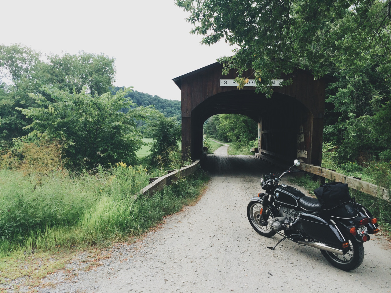 Taking a break under the covered bridges of Vermont.