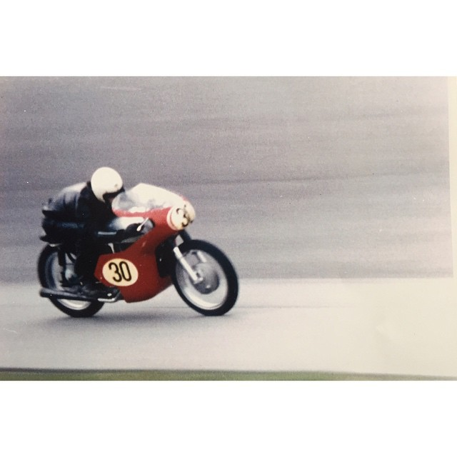 Sunday Funday   Our local mentor Ray Dey owner and operator of the first motorcycle shop in #Nashville is a wealth of knowledge, and he knows how to ride them!   Here is a picture of him blazing Daytona Speedway in 1964 finishing 9th in the Grand Prix of the USA piloting a 1959 Norton Dominator Super Sport  (at Daytona International Speedway)