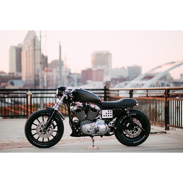 Good Morning from #Nashville! Here is one of our favorite shots of the #Sportster 1200. Thanks Emilia for all your hard work and support⚡️ photo by: @emiliapare  (at Nashville's Pedestrian Bridge)