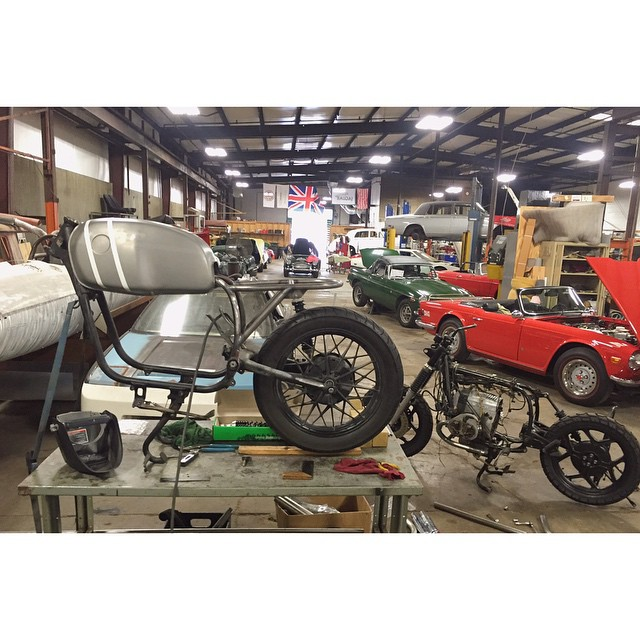 Subframe after subframe after subframe | Doing work over at Coffey Fabrication with @rufusryan | Thanks @coffeyfab for letting us use your shop during crunch time! #bmwmotorrad #BMW #bmwairhead #airhead #vintage #Nashville #r80 #motorcycle  (at Coffey Fabrication and Race Prep)
