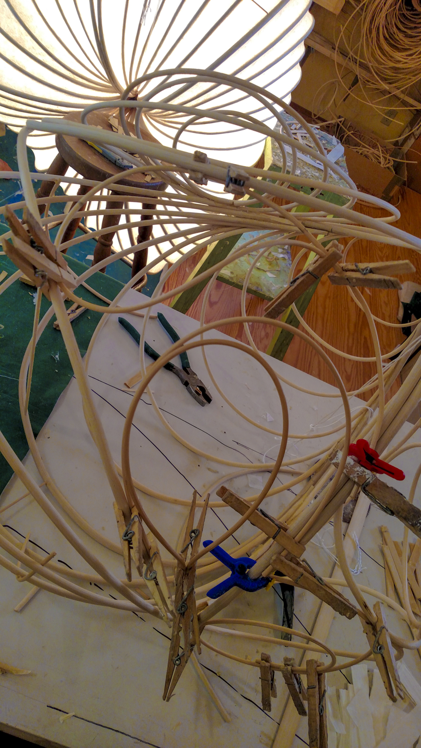"""Example of the overwhelm of clothespins as I awaited the gluing of each section (""""Uh, which one are we on, Stephen?"""")"""