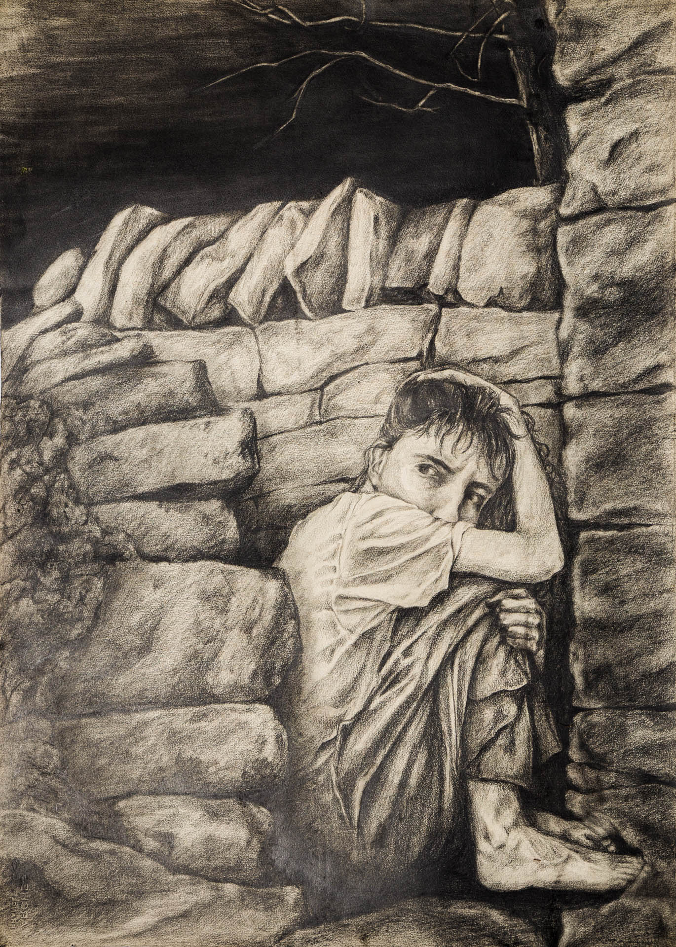 """""""LOOKING WITHIN"""", 1987, (36 x 48 inches), graphite, 1st self-portrait (not in current exhibit)"""