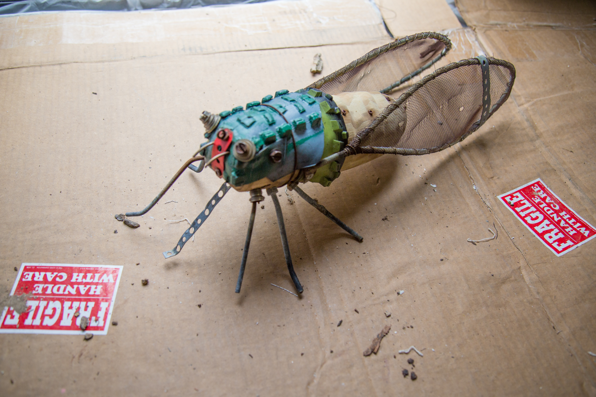 Geoffrey Gorman cicada sculpture, brought in from personal collection of one of the workshop women... so helpful to have a completed sculpture to hold, touch, and study (and not at all fragile, contrary to the cardboard on which it was resting... I thought it was a funny, but I am easily amused)!