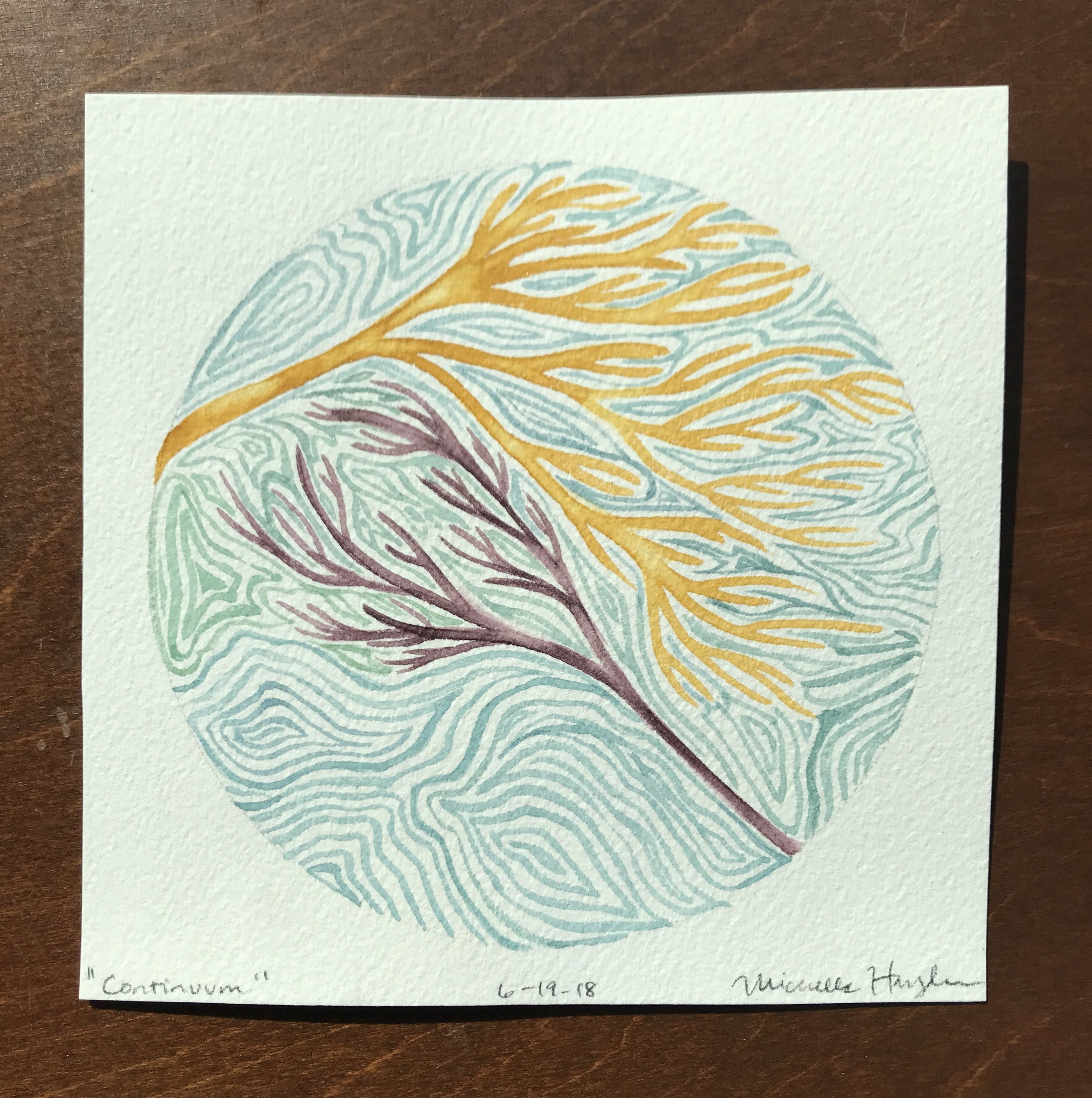 """(""""As I paint while driving (spouse) along the highway to return home (which is an interesting challenge on these bumpy curvy roads), my mind is preoccupied with shapes of specimens found along sandy shores, remnants of living beings pulled forth from the ocean's depths. Having seen and touched variations of live branches and brightly colored coral as well as those fossilized, my thoughts return to coral fragments we have discovered on our hillsides in Kentucky. Basic research reveals that the age of this KY coral is hundreds of million of years old, which is difficult to comprehend... even more so is imagining our land being under ocean water. It leaves me pondering the profound experience of being alive during a mere moment in a long progression of time, mindful yet again of the imprint we have the opportunity to leave..."""")"""