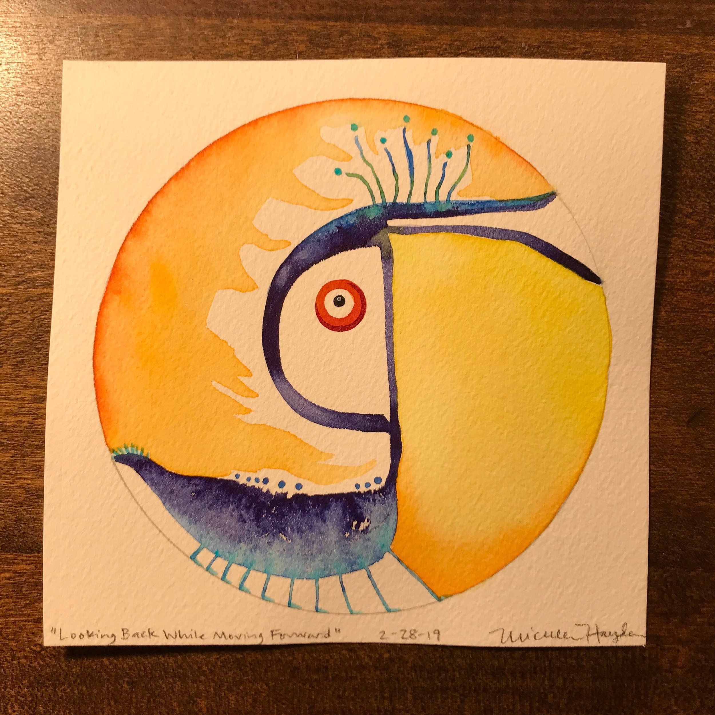 """""""It is with mixed emotions that I post today's circle, completing the 380th painting (did 15 sporadically before committing to the daily) in a bit over a year. When I see that number, it is hard to believe that the goal has been met. What started as a morning ritual to explore watercolor within the circle and writing words alongside to deepen and practice sharing, has evolved into an experience much more profound than I can write in this paragraph (long as they can be, at times, haha). I am deeply grateful for what was grown far beyond my expectations, bringing me connection, deep inner work, healing, courage, and joy in the privilege of shared humanity. I will share more depth soon, but offer my sincere thanks to each of you for following along and sharing in the journey with me, whether in word, witness, or spirit— I am very aware that it would not have been the same without you! It seems fitting that this circle which closes the daily loop, at least, is filled with a bit of spunk and oddity, reflecting the practice of balancing past, present, and future, as well as the light and dark, so that we can all keep going... much love to you all!"""""""