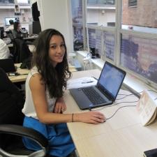 Intern at her desk during internship program