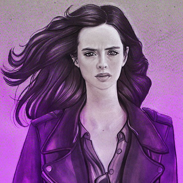 Jessica Jones @marvelsjessicajones   I've taken a long break from instagram to focus on school work but I'll be posting regularly again...hopefully lol. I have a few drawings in the works which shold be completed soon. In the meantime, I hope you guys enjoy my Jessica Jones drawing! ☺ I finished this after binge watching the first season (which was stellar) and I can't wait for season 2!  @therealkrystenritter