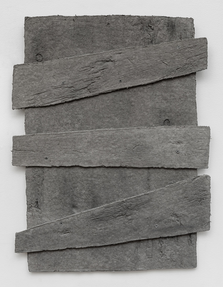 Diana Shpungin   Don't Let The Light In 1 (Gray) , 2018  Graphite, pigmented casting cotton paper pulp, abaca paper   34 x 27 x 1 inches  Image copyright and courtesy of Etienne Frossard.