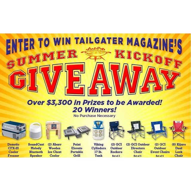 EXTRA, EXTRA! Tailgater Monthly has announced its #summer kickoff #giveaway with more than $3,000 in prizes! Enter for a chance to win an Elevate #Grill & more! #tailgate #camping #bbq #beach #outdoor