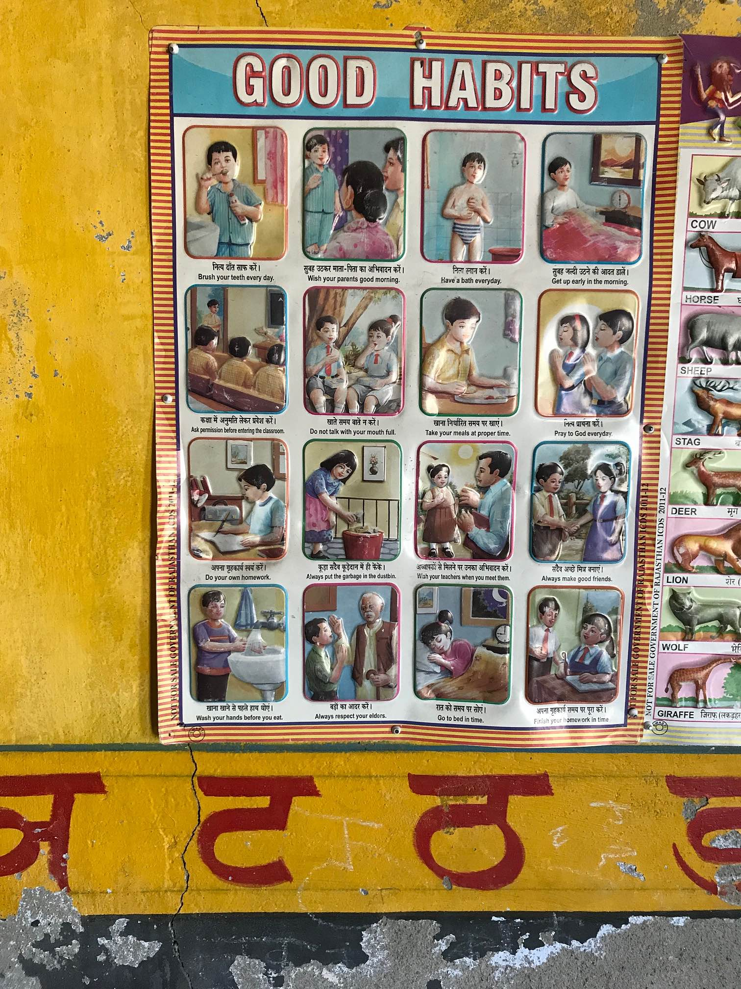 An informative poster inside the anganwadi classroom