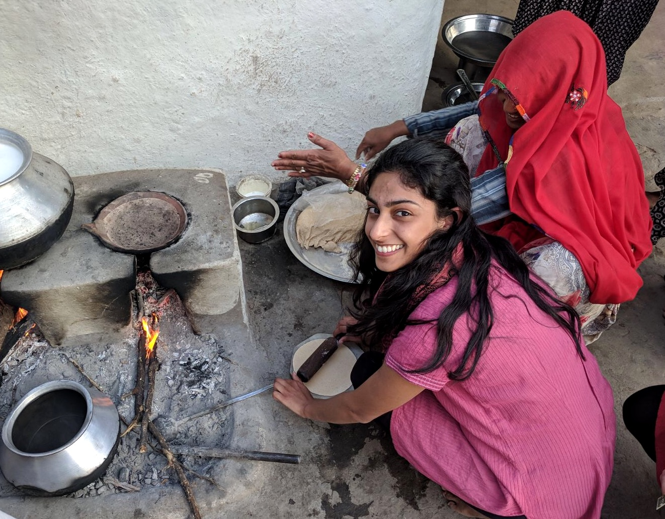 Getting involved with daily chores, cooking the traditional bread for our household. It's more difficult than it looks!