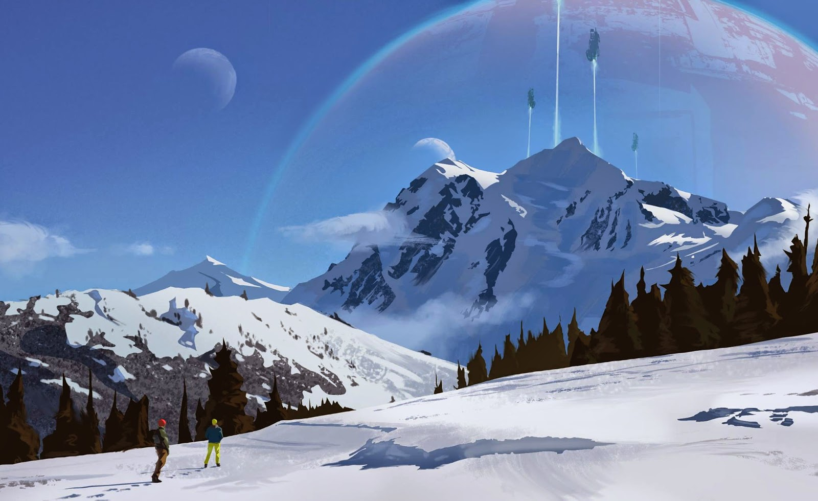 This is a painting I did based on a cell phone photo I took while I was on a snowboarding trip to Crystal Mountain.  Including the spaceships and that much-too-close planet.