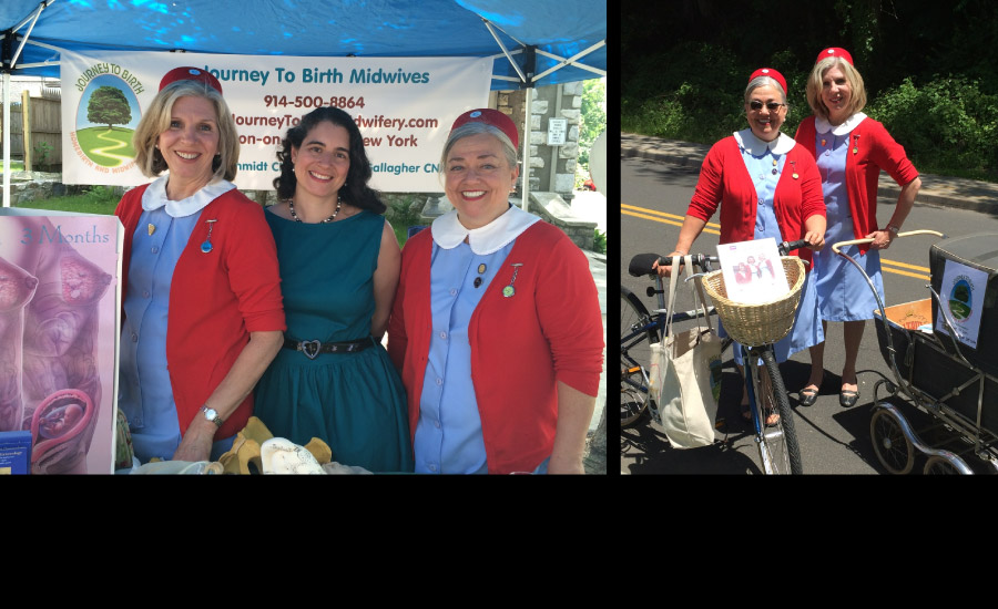 "2014 Journey to Birth (homage to ""Call the Midwife"") attends the Annual Croton Summerfest community parade and street fair to promote the practice and birth education"