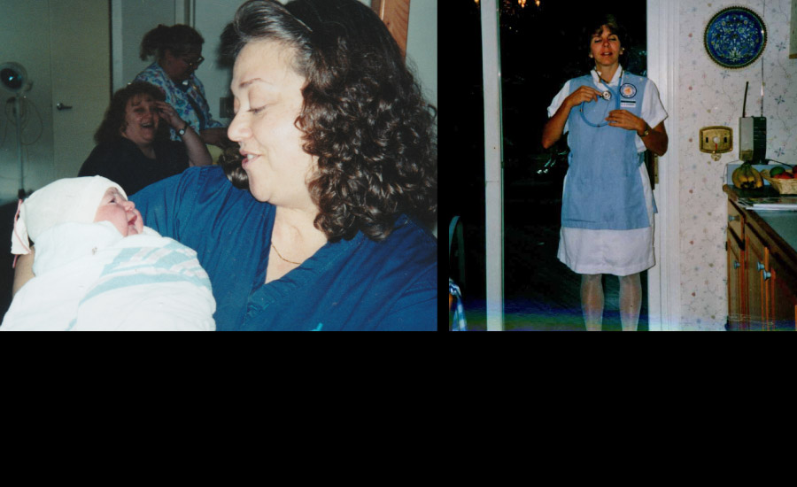 1994 and 1995, Susan and Cathy, respectively, earn nursing degrees on their way to becoming midwives