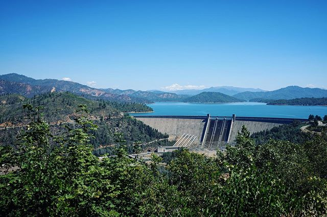 The three Shastas: Mt Shasta, Shasta Lake, Shasta Dam.