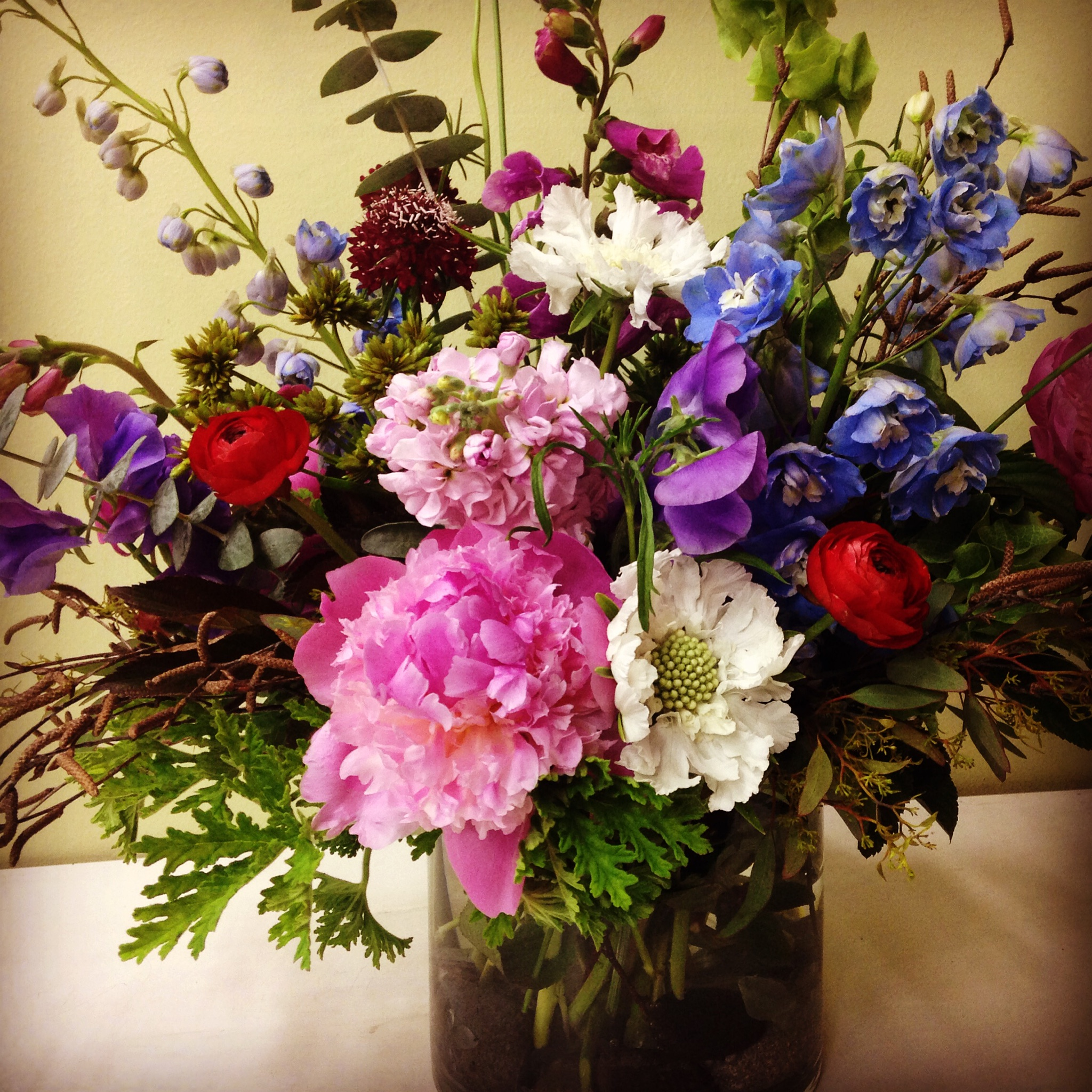 Wild and Colorful with Peonies, Sweet Peas and Scabiosa
