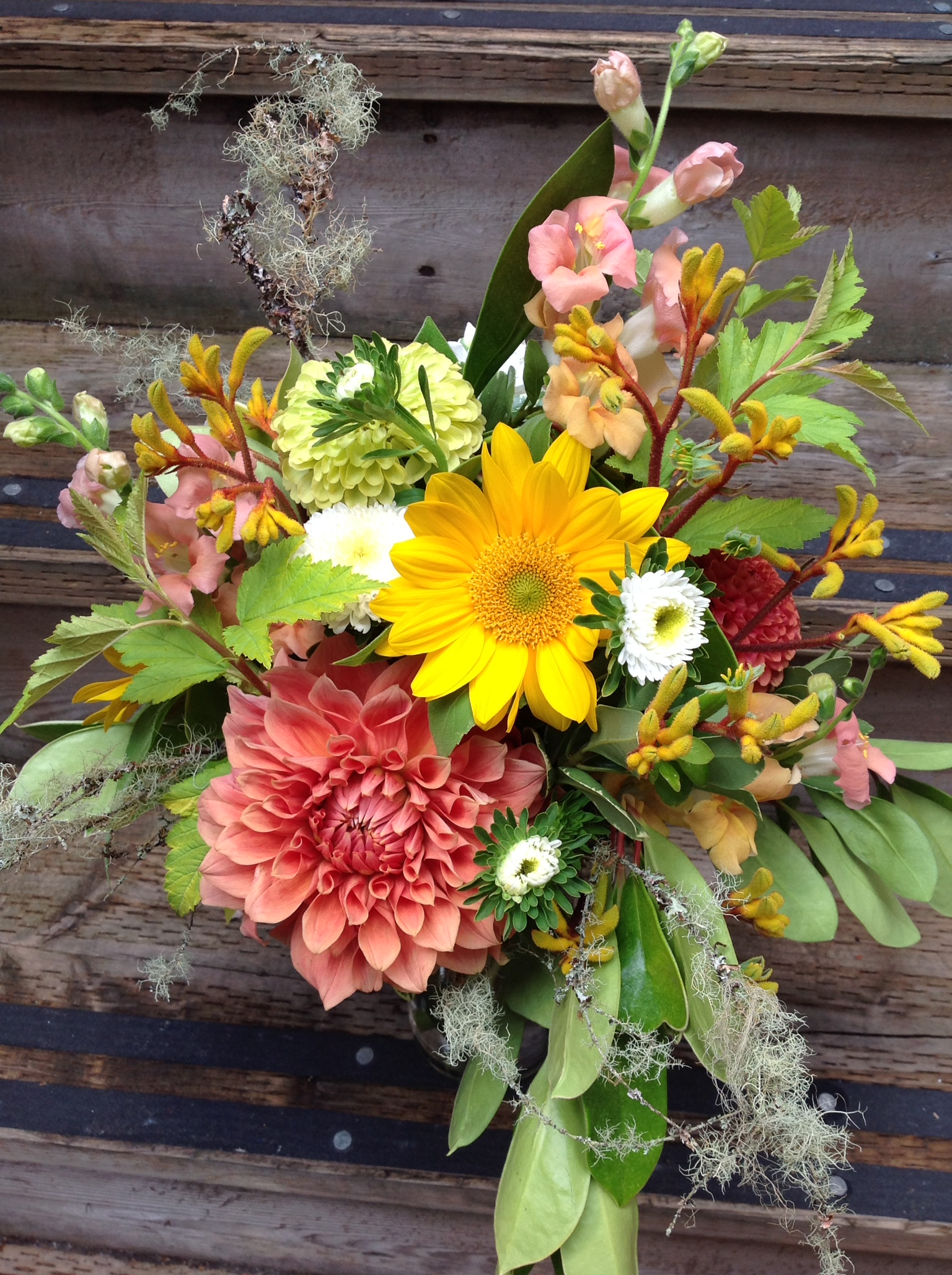 2. Natural and Warm with Kangaroo Paw, Zinnias and Mossy Branches