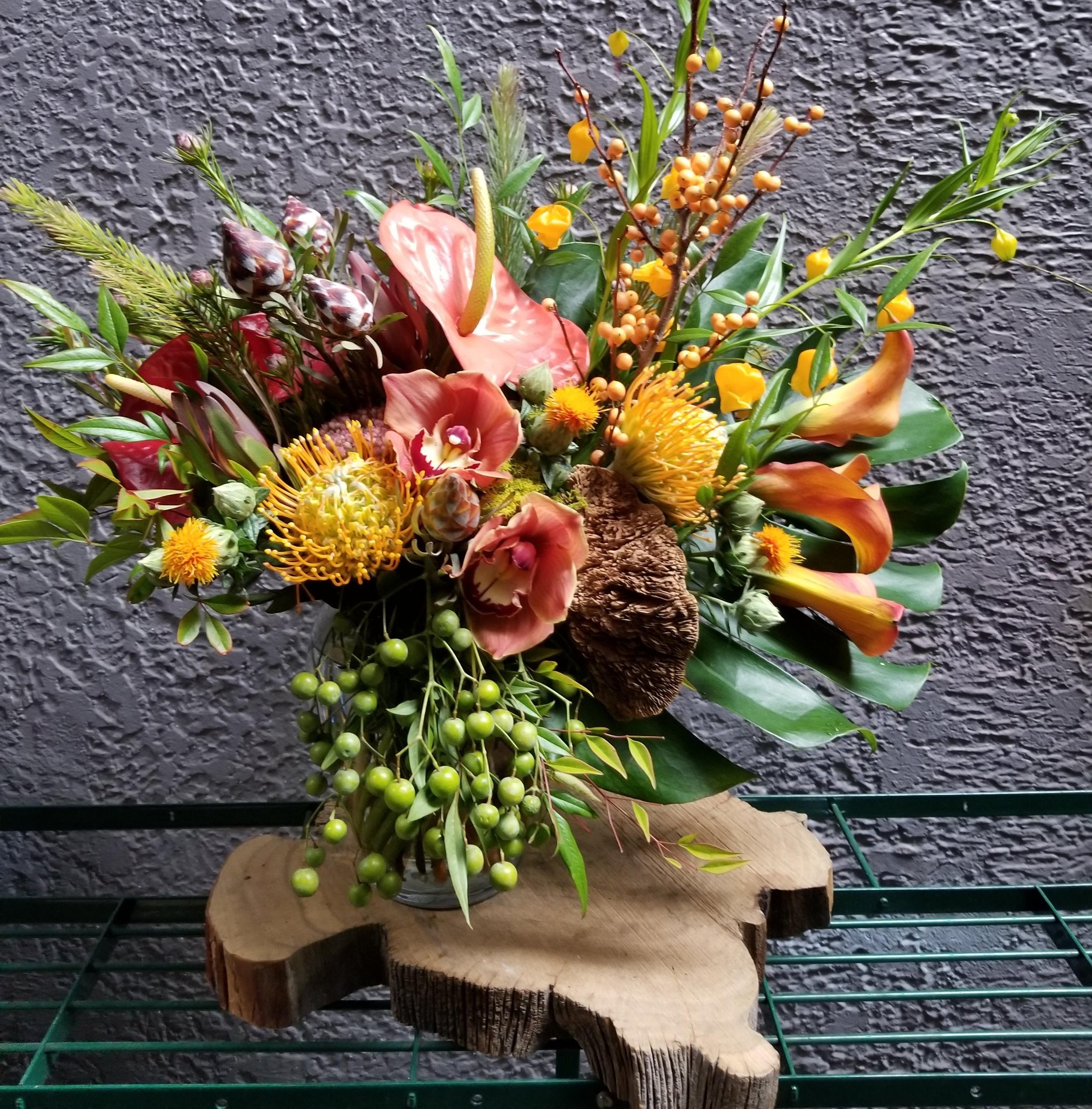 7. Unusual Fall Tropical Arrangement