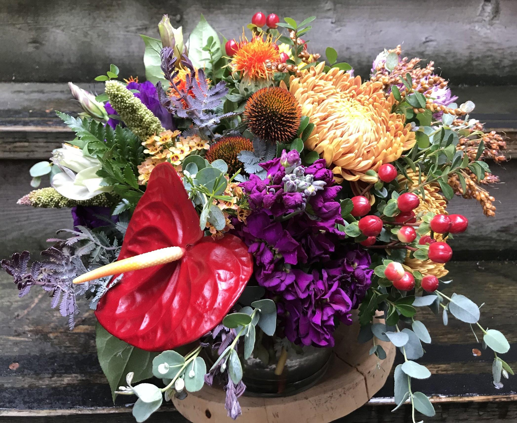 6. Eclectic and Colorful Autumn Arrangement