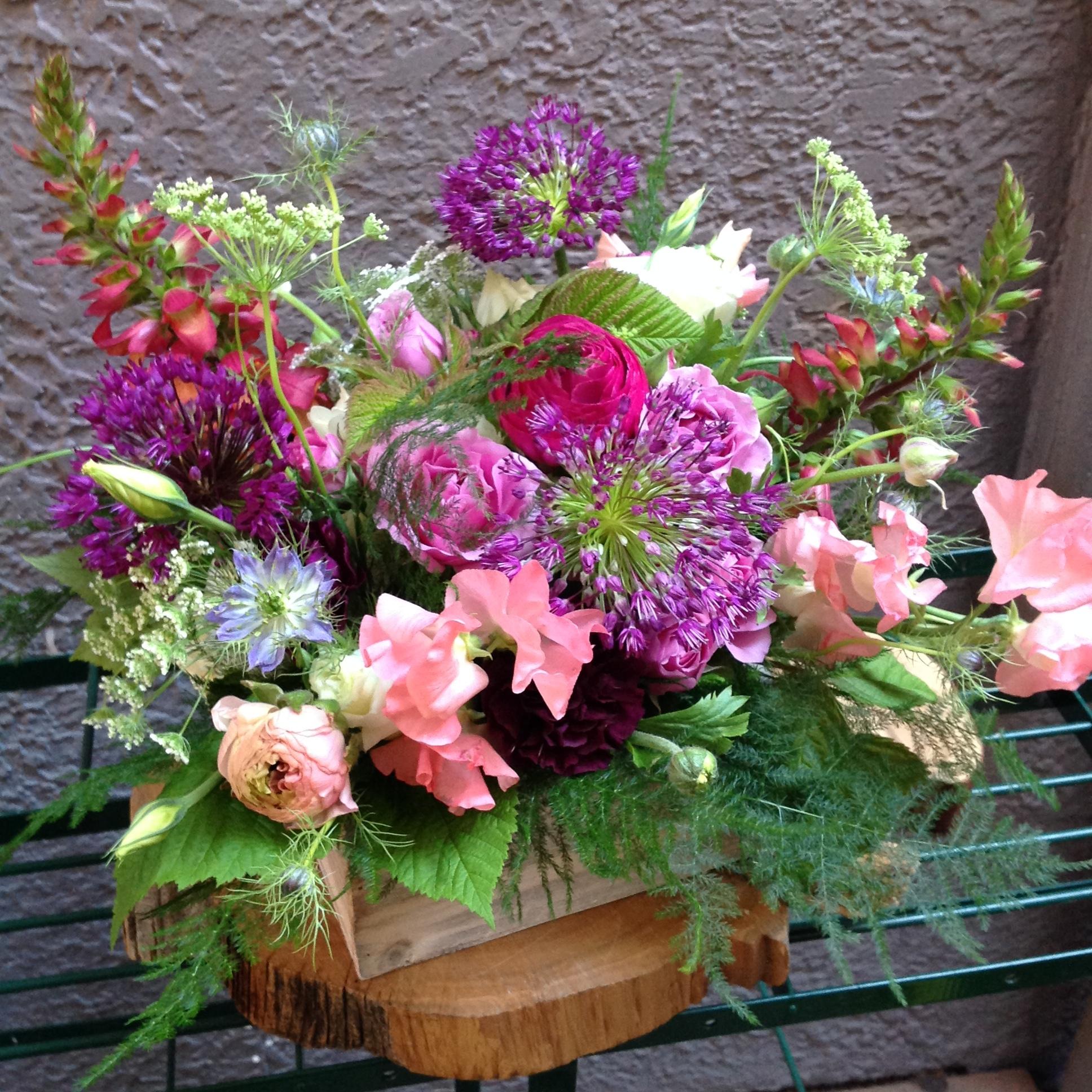Fragrant Spring Garden Arrangement in Wooden Box