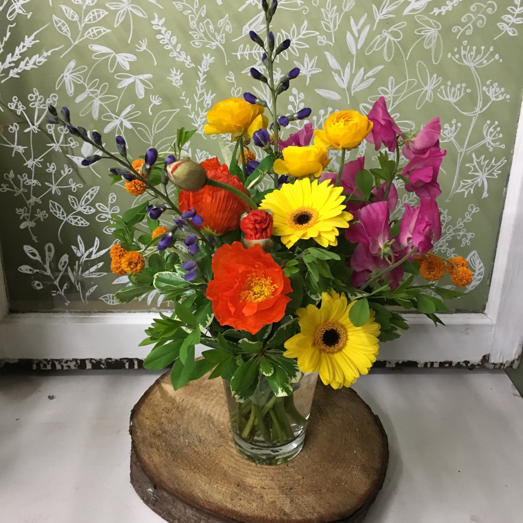 7. Bright bouquet with gerbera and sweet pea