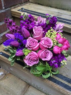 35. Lavender and Purple spring tulip display