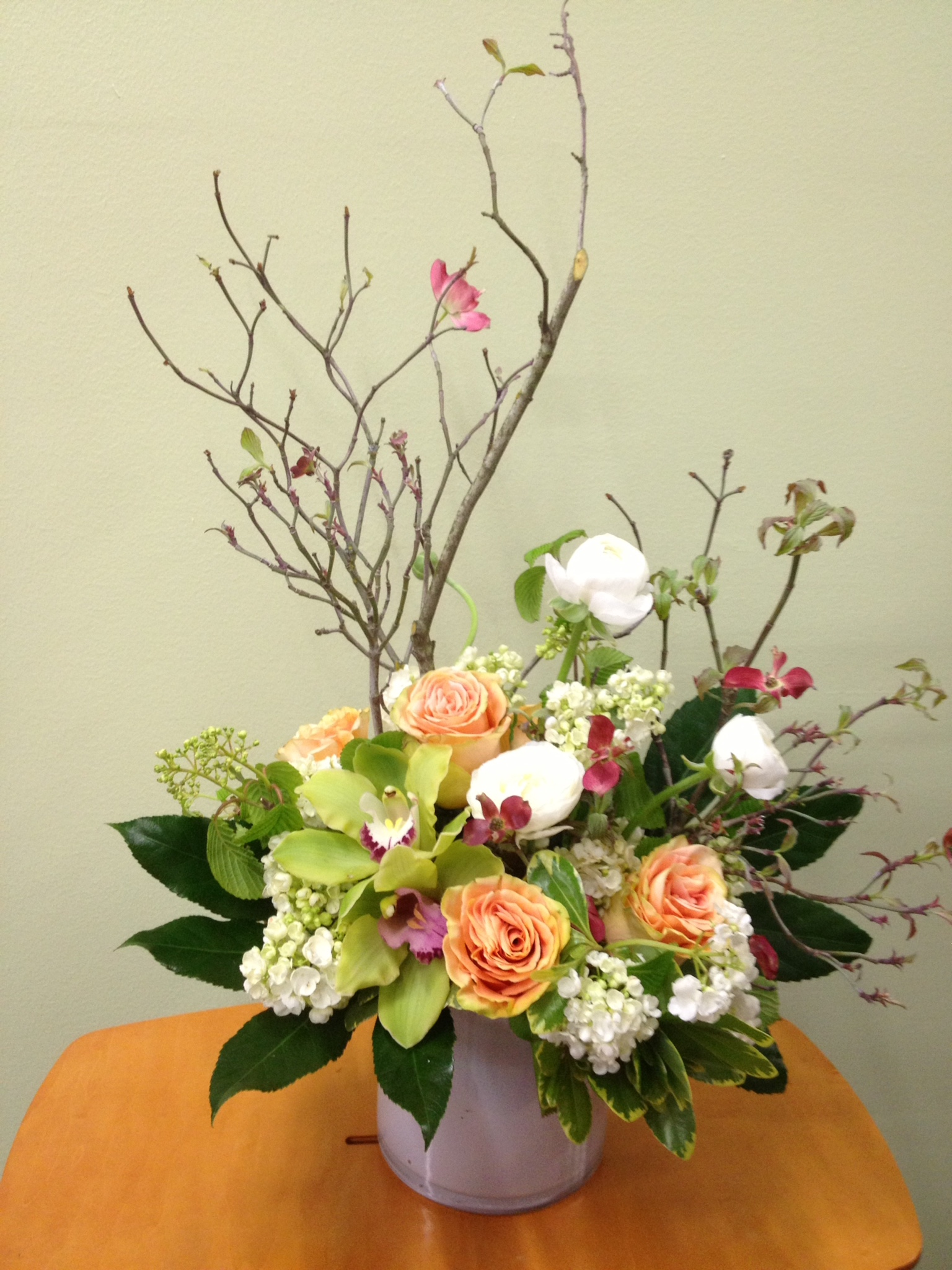 40. Lush with cyms hydrangea and blooming branch
