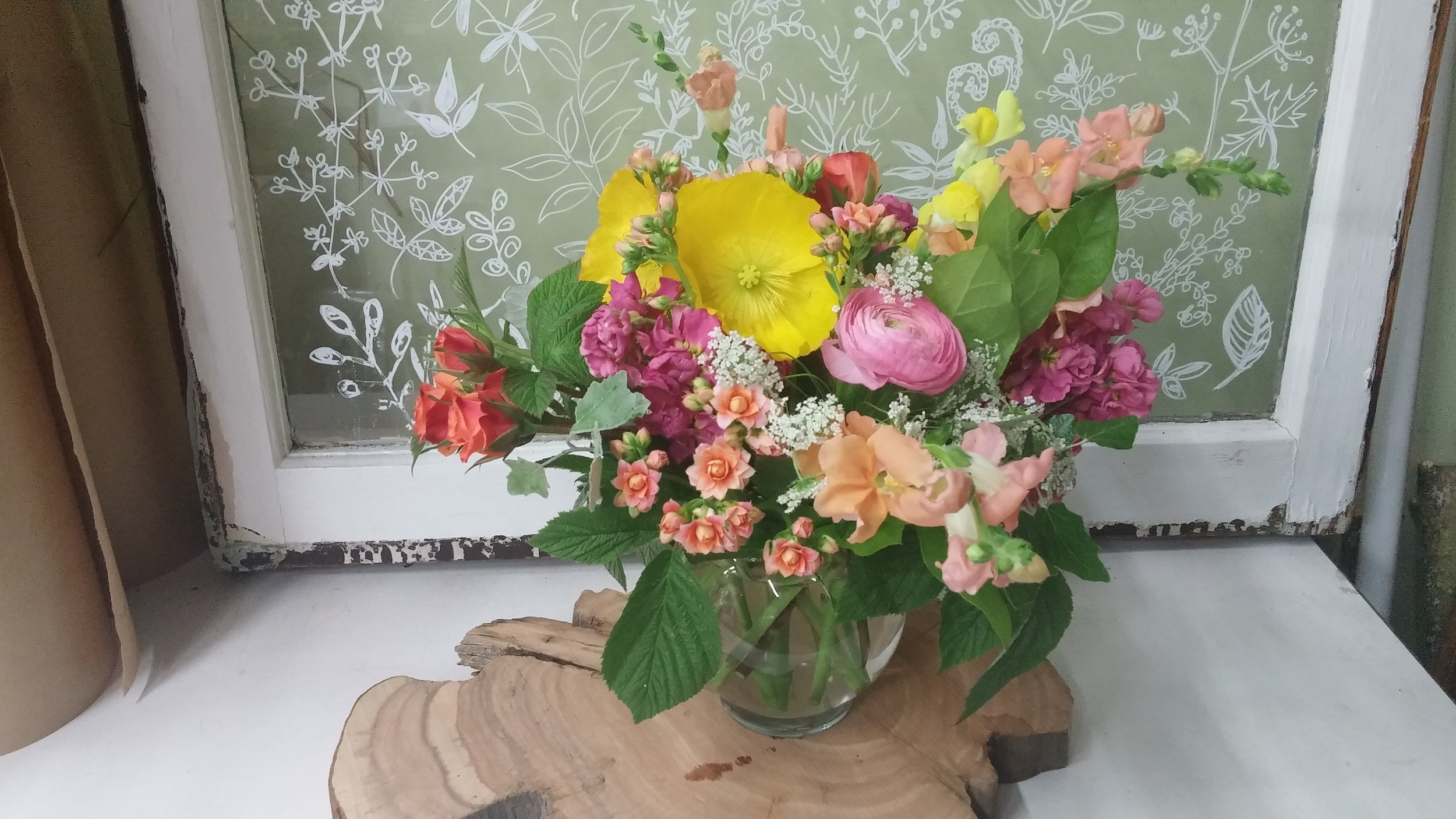 8. Bright pink yellow and peach summer bouquet