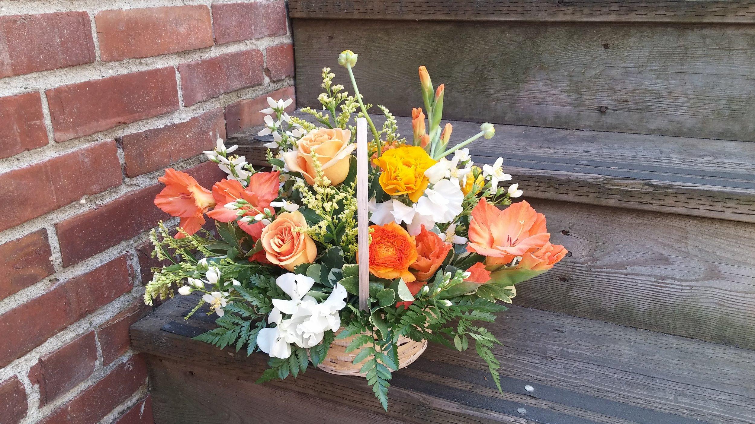 13.  Peach orange and yellow summer basket
