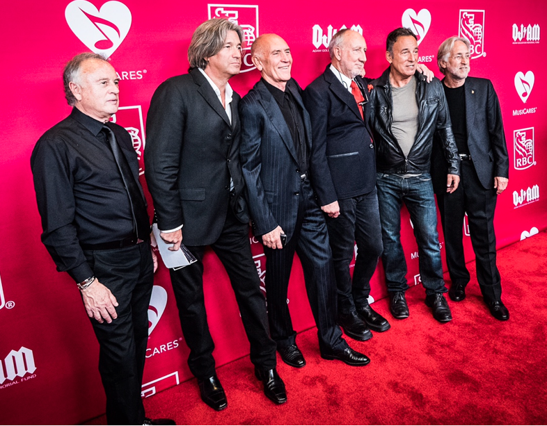 (left to right)  Dan Franklin (film producer), Rob Bruce (film producer), Bill Curbishley (Pete Townsend's manager & honoree), Pete Townsend (honoree), Bruce Springsteen, Neal Portnow (Grammy/ Recording Academy President)      Red Carpet photo credit:    Drew Wiedemann.