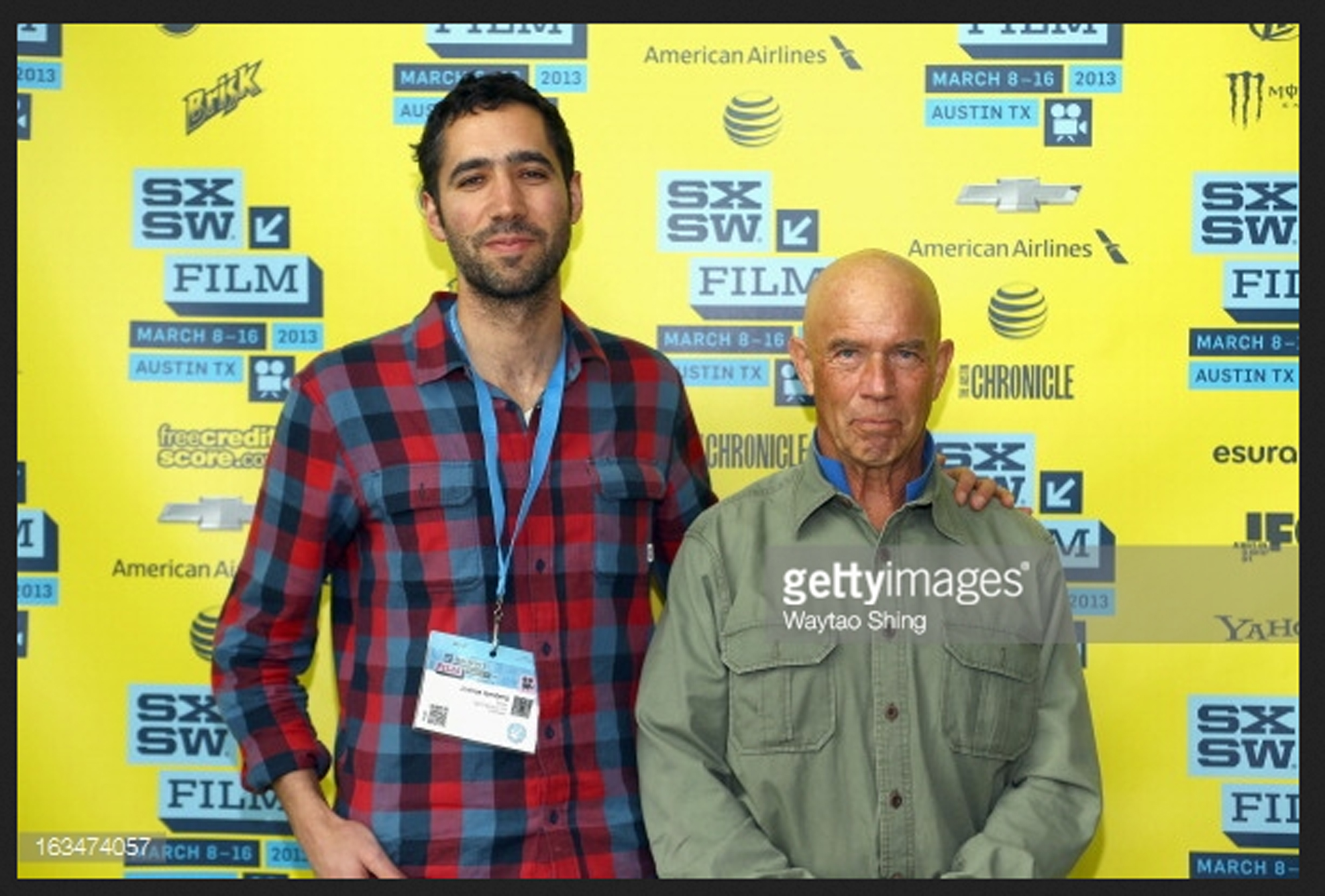 """Filmmaker Josh Izenberg and Dr. John """"Slomo"""" Kitchin pose in the greenroom at the Documentary Shorts 2 screening at the annual SXSW Film Festival in Austin, Texas."""