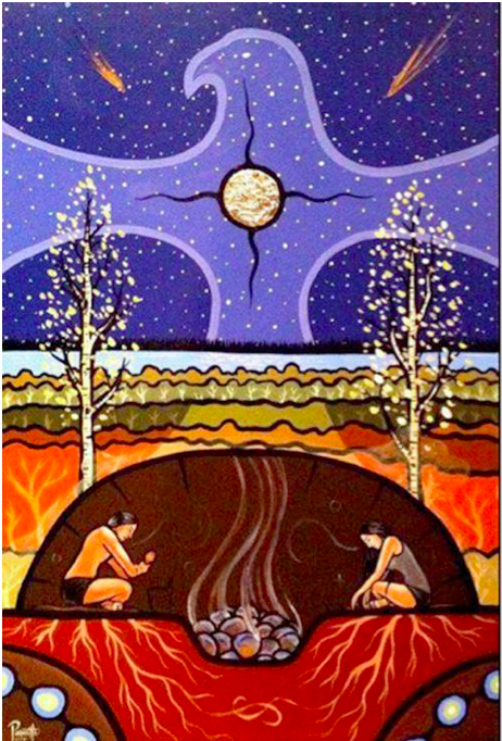 """Sacred Inipi graphic,    """"Teachings of the Sweat Lodge""""    by Aaron Paquette"""