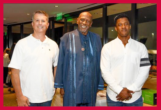 LA County Fire captains and Firefighters Down co-founders Rick Brandelli (left) and Mike Henry (right) gather for a photo with Malibu resident and actor Lou Gossett Jr., who spoke at the organization's Sept. 11 event . . . (Photo by Suzy Demeter/22nd Century Media)